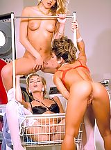 New Lesbians, Bored babes Dionna, Renee, and Sara St. James hang loose in the laundromat.