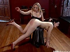 Adorable 19 year old has a tough  first ever lesbian experience on WhippedAss.com!